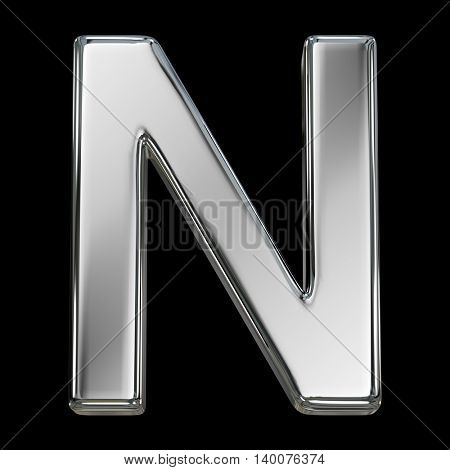Letter N from chrome solid alphabet isolated on white