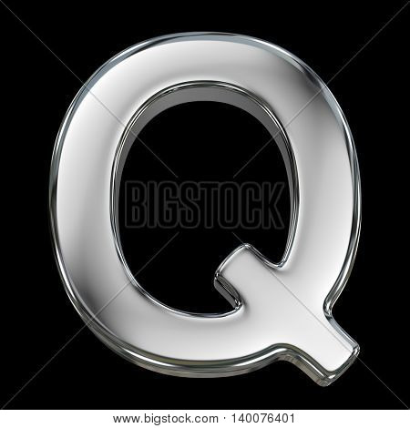 Letter Q from chrome solid alphabet isolated on white