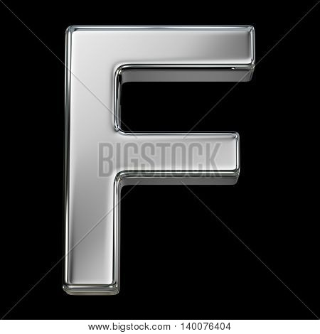 Letter F from chrome solid alphabet isolated on white