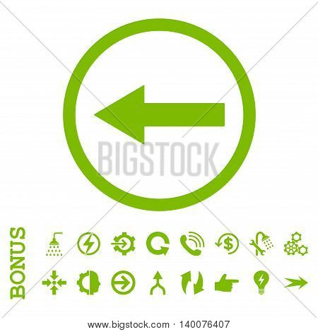 Left Rounded Arrow glyph icon. Image style is a flat iconic symbol, eco green color, white background.