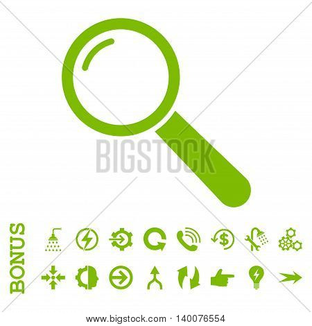 Magnifier glyph icon. Image style is a flat iconic symbol, eco green color, white background.