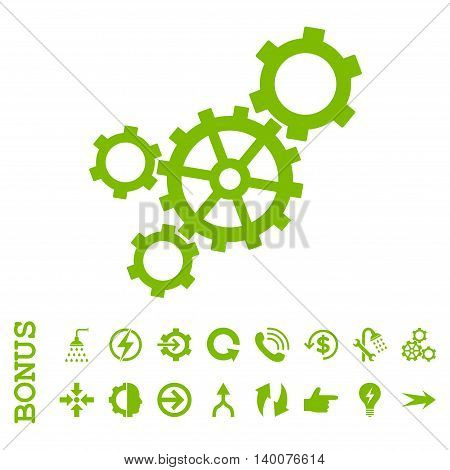Mechanism glyph icon. Image style is a flat pictogram symbol, eco green color, white background.