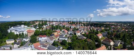 Aerial view Bergen auf Ruegen Germany town Mecklenburg architecture