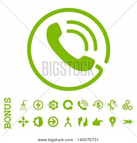 Phone Call glyph icon. Image style is a flat iconic symbol, eco green color, white background.