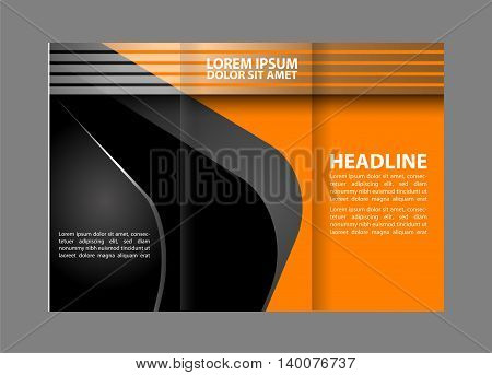 Tri-fold brochure template design with orange color