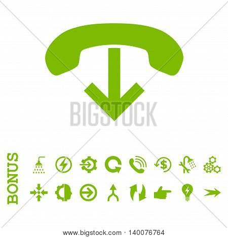 Phone Hang Up glyph icon. Image style is a flat pictogram symbol, eco green color, white background.