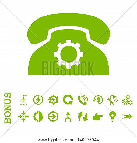 Phone Settings glyph icon. Image style is a flat iconic symbol, eco green color, white background.