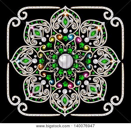 Illustration background circular ornaments of precious stones
