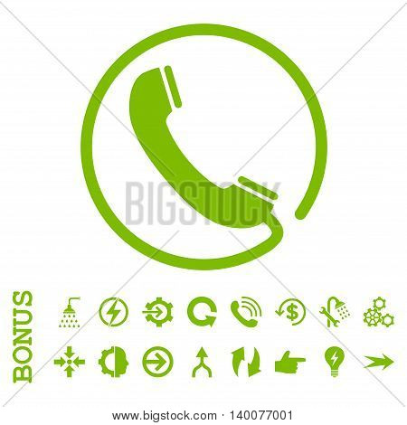 Phone glyph icon. Image style is a flat iconic symbol, eco green color, white background.