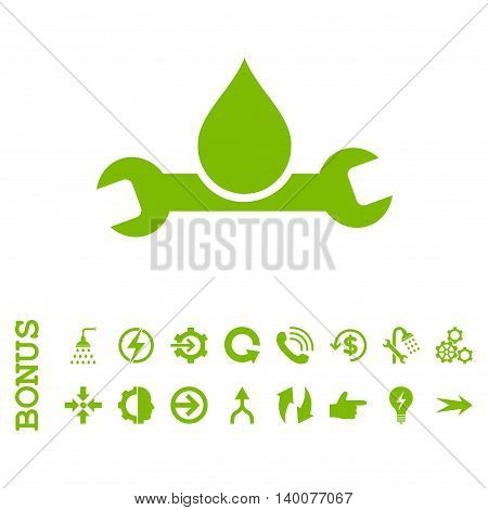 Plumbing glyph icon. Image style is a flat pictogram symbol, eco green color, white background.
