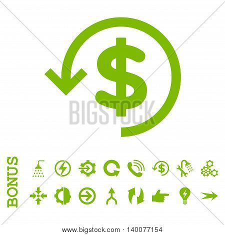 Refund glyph icon. Image style is a flat iconic symbol, eco green color, white background.
