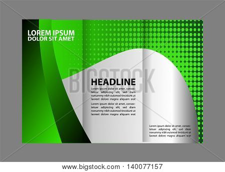 Green brochure template. Tri-fold Brochure Design and Catalog Vector Concept Template