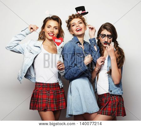 life style and people concept:  girls best friends ready for par