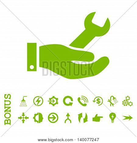 Repair Service glyph icon. Image style is a flat pictogram symbol, eco green color, white background.