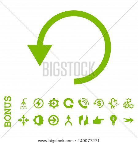Rotate Ccw glyph icon. Image style is a flat iconic symbol, eco green color, white background.