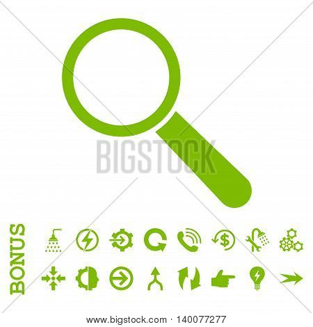 Search Tool glyph icon. Image style is a flat iconic symbol, eco green color, white background.