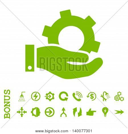 Service glyph icon. Image style is a flat iconic symbol, eco green color, white background.