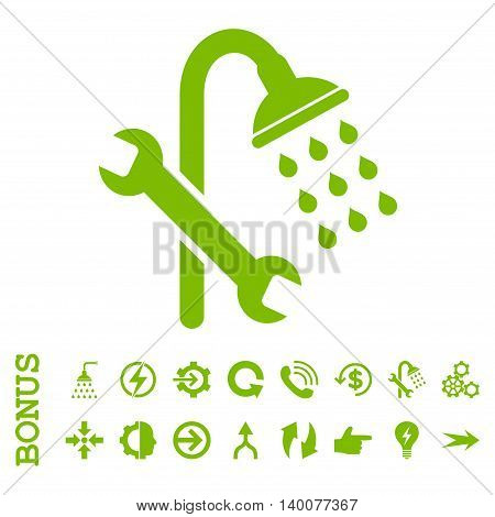 Shower Plumbing glyph icon. Image style is a flat pictogram symbol, eco green color, white background.