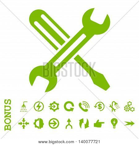 Tuning glyph icon. Image style is a flat iconic symbol, eco green color, white background.