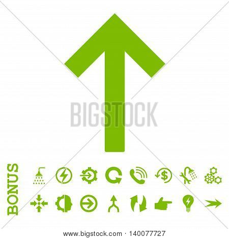 Up Arrow glyph icon. Image style is a flat iconic symbol, eco green color, white background.