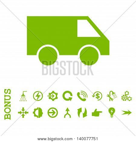 Van glyph icon. Image style is a flat iconic symbol, eco green color, white background.