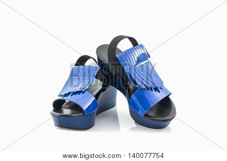Blue women shoes on the white background.