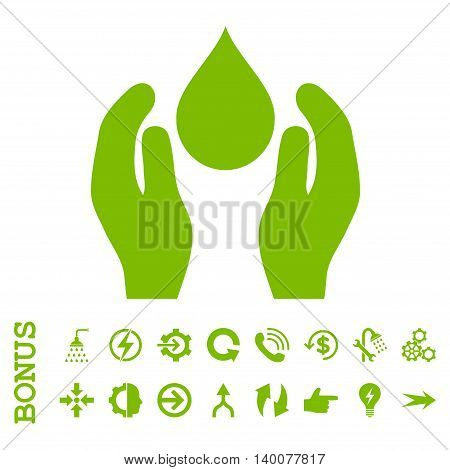 Water Care glyph icon. Image style is a flat pictogram symbol, eco green color, white background.