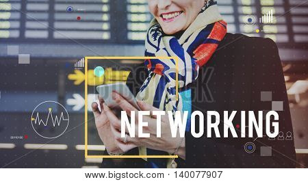 Networking Connection Business Woman Using Device Concept