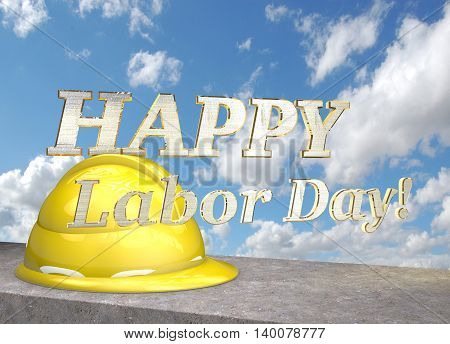 Happy labor day. Helmet on the concrete block on a background of clouds. 3D illustration