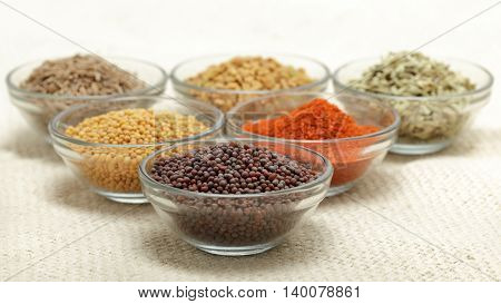 Different types of Indian spices in glass bowl, focus on brown mustard seeds on jute mat background. Front view.