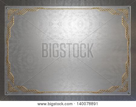 Old metal plate with vintage pattern. 3D illustration