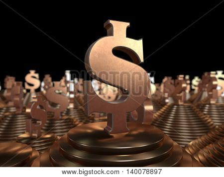 Bronze dollar symbol on the pyramid and a black background. 3D illustration