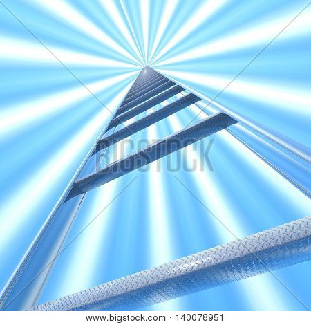 Stairway to Heaven. Metal ladder going into the sky. 3d illustration