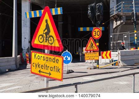 Warning Roadsigns Along Urban Road. Sweden