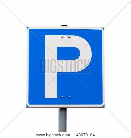 Blue Square Parking Road Sign Isolated On White