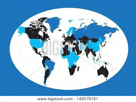 World map planet blue colored flat design