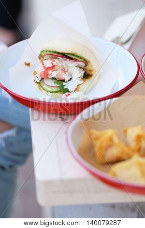 Street seafood in outdoor restaurant
