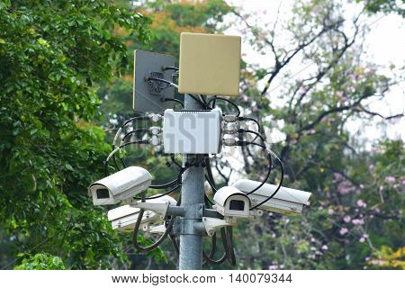 closed circuit camera can record events such as traffic accidents. And also prevent the thief.