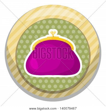 Purse colorful icon. Vector illustration in cartoon style