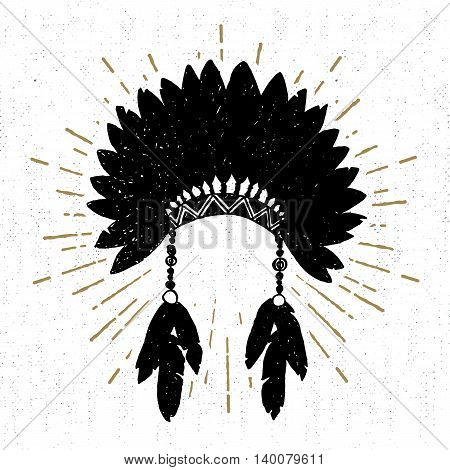 Hand drawn tribal icon with a textured headdress vector illustration.
