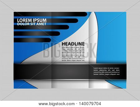 Vector Tri Fold Brochure Design. Corporate Leaflet, Cover Template