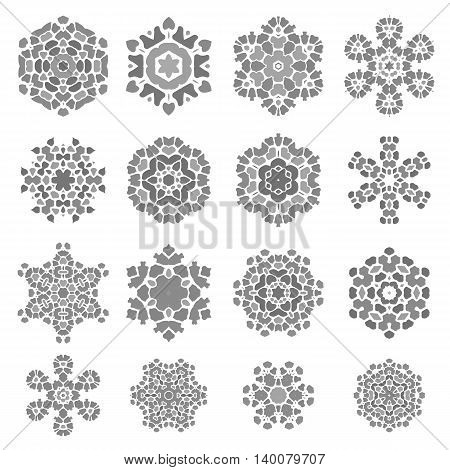 Set of Grey Stone Rosettes Isolated on White Background