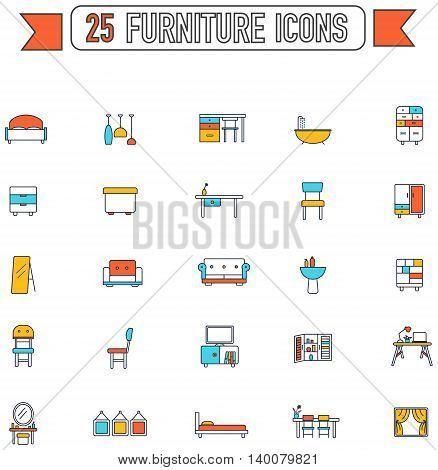 Flat line color furniture and home appliance interior graphic sign and symbol icon collection set.