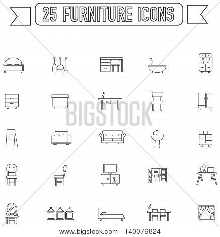Flat line silhouette furniture and home appliance interior graphic sign and symbol icon collection set create by vector