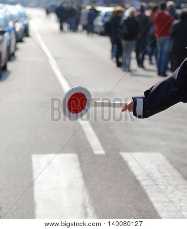 Road Block Policeman During A Traffic Control