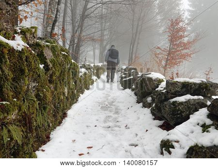 Lone Walker In The Mountain Path With Snow