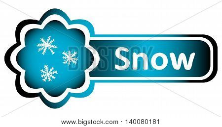 Double blue icon snowflakes and white inscription