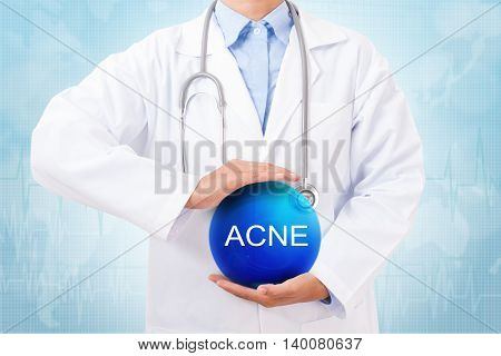 Doctor holding blue crystal ball with acne sign on medical background.