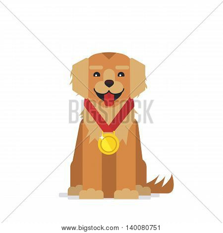 Cute dog winner champion. Golden retriever wearing gold medal. Vector illustration isolated on white background.