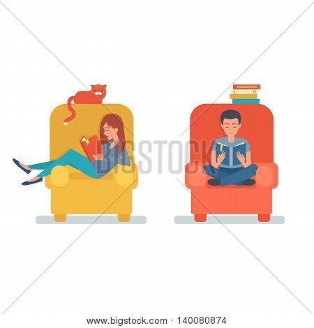 Boy and girl reading book sitting on chair. Vector illustration.